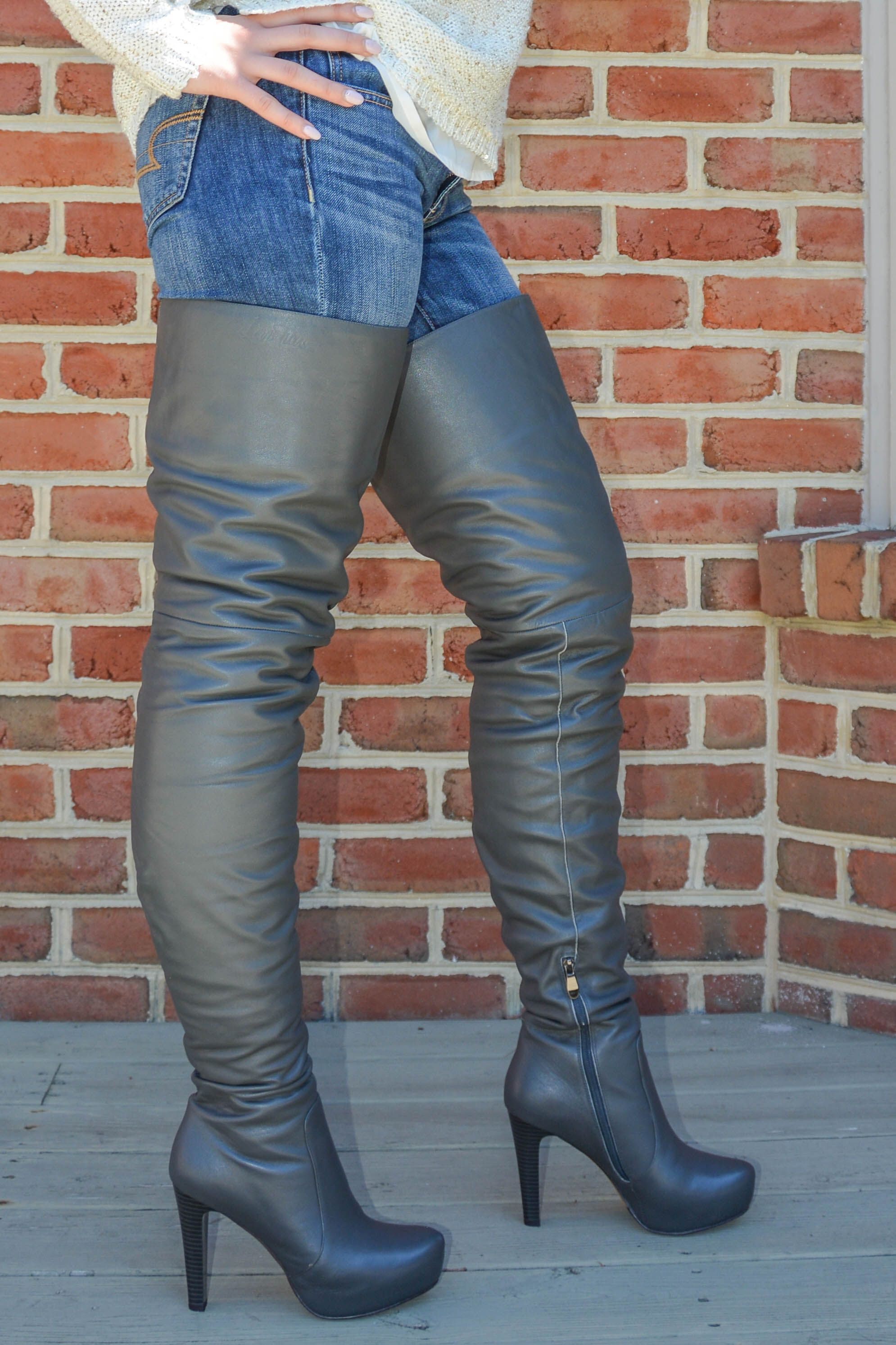 Sage Green Leather 2 0 Platform High Rize Boots Boots