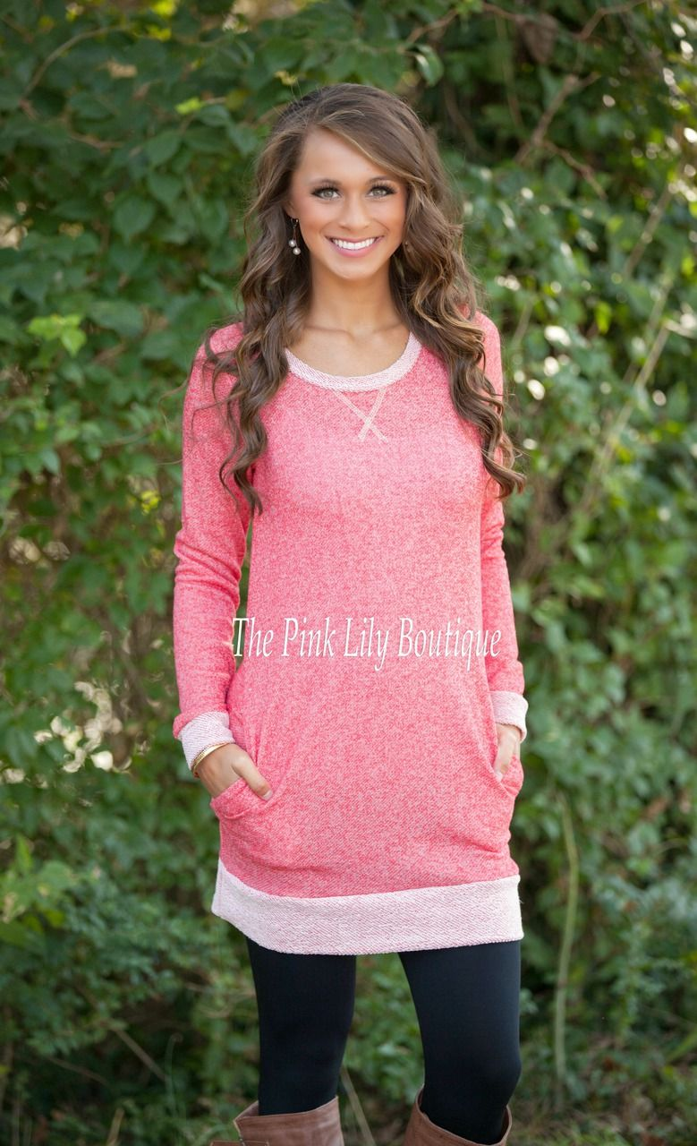 The Pink Lily Boutique - Come Morning Light Coral Sweater Tunic ...