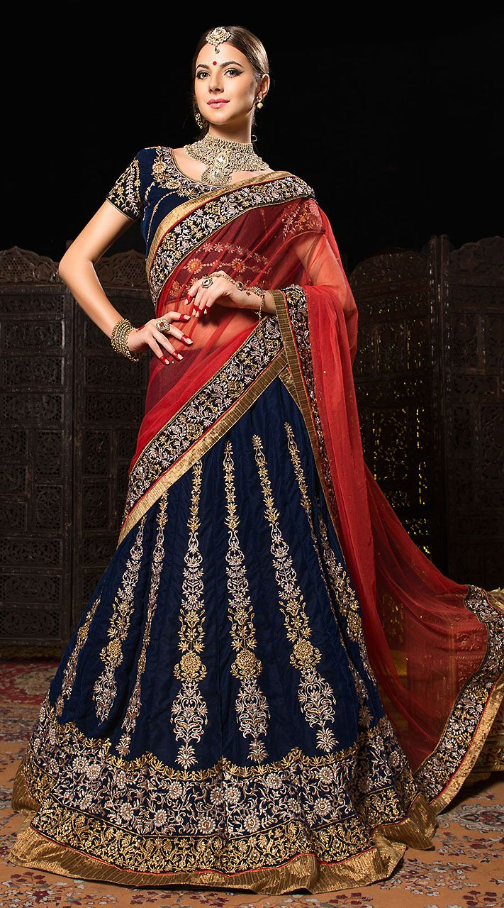 Gorgeous Blue velvet and gold lehenga with scarfdupatta