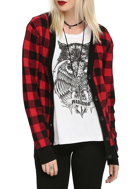 Red & Black Check Girls Cardigan | Red black, Girls and Clothes