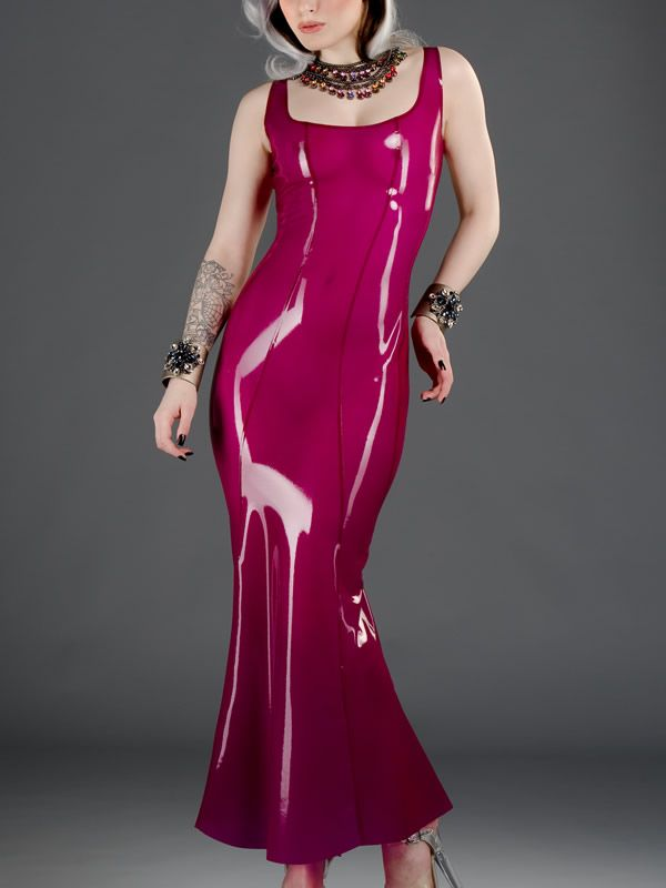 latex evening dress, latex evening gown,long dress, crisscross back ...