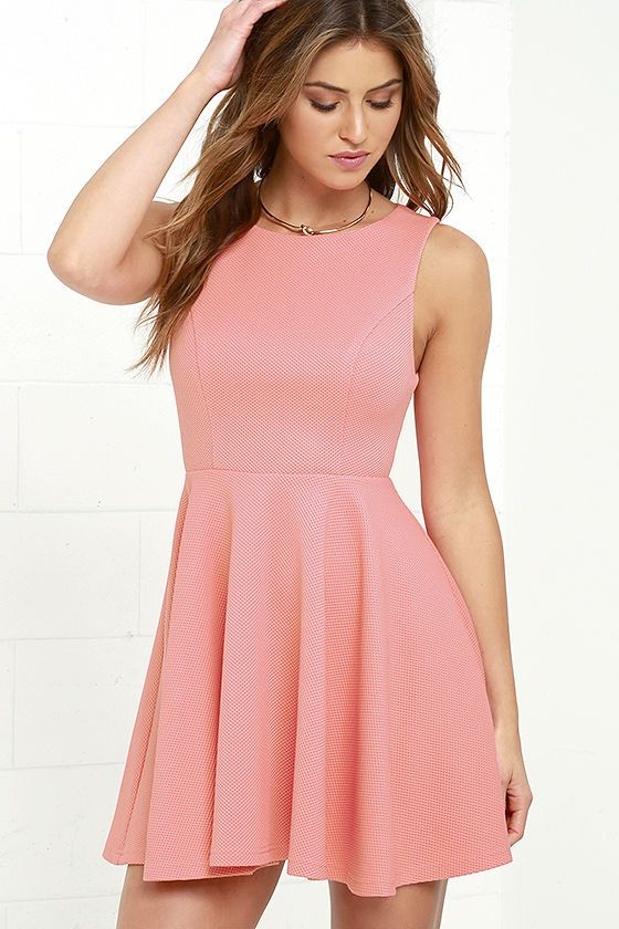 2564437a9c The Gal About Town Coral Pink Skater Dress is perfect for the busy girl who  gets invited to everything! Textured stretch knit forms a sleeveless bodice  with ...