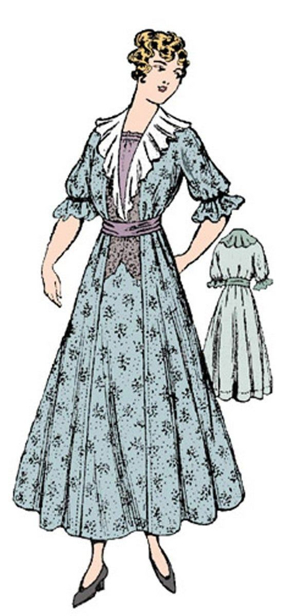 1915 Ladies Dress With Ruffled Lapels  Reproduction Sewing Pattern  38 Inch Bust 1915 Ladies Dress With Ruffled Lapels  Reproduction Sewing Pattern  38 Inch Bust
