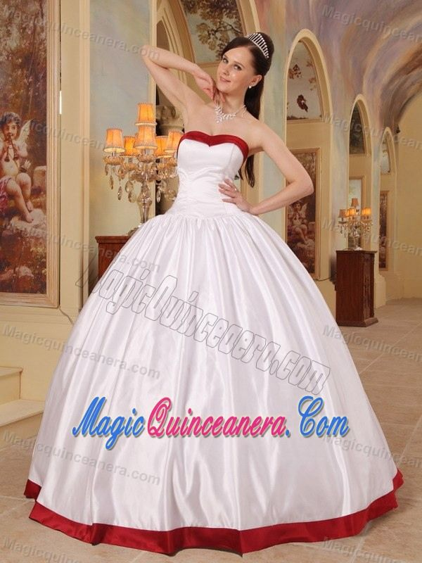 Simple White Ball Gown Sweet 15 Dresses with Wine Red Hem ...