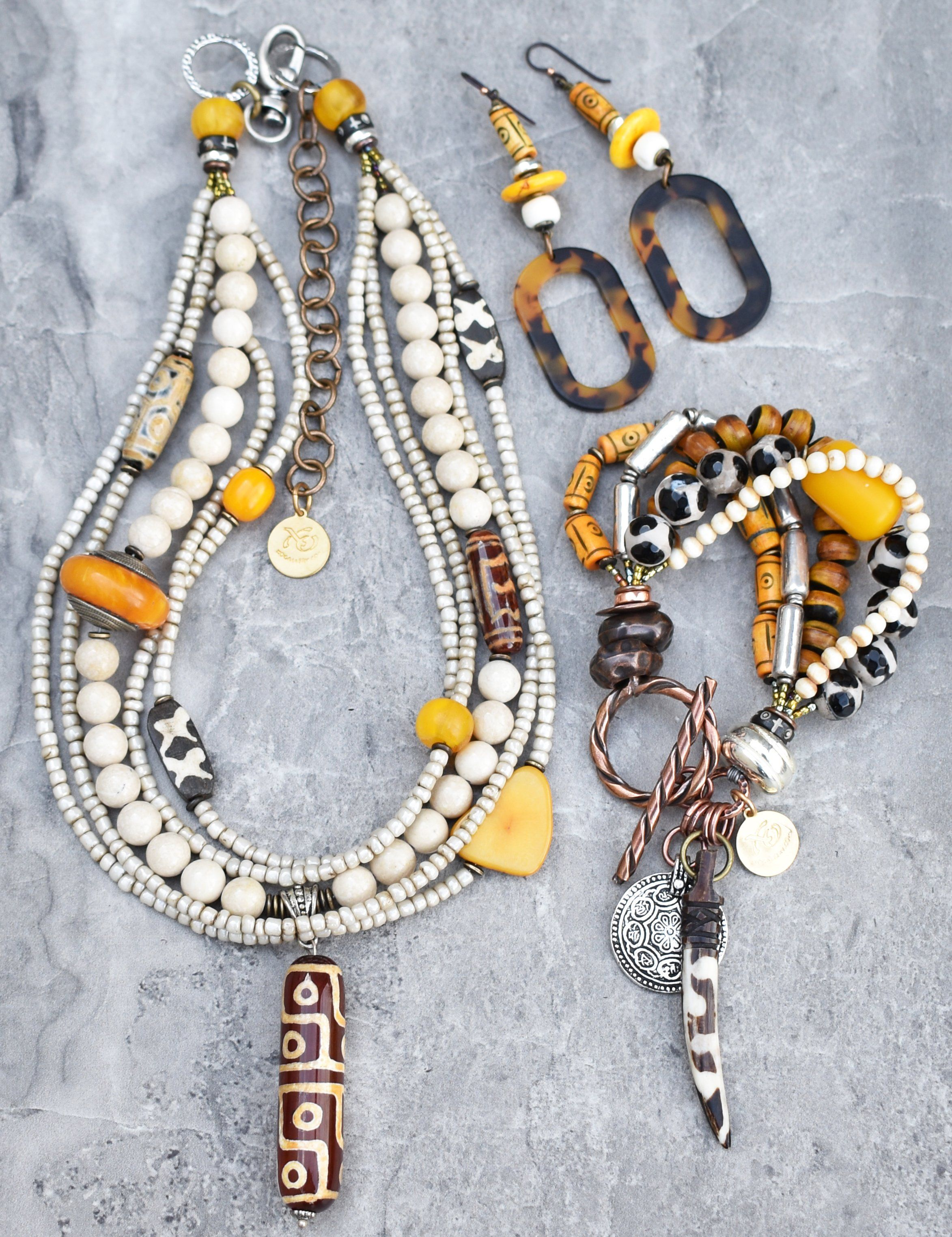 brown Amber and creme necklace and earrings set