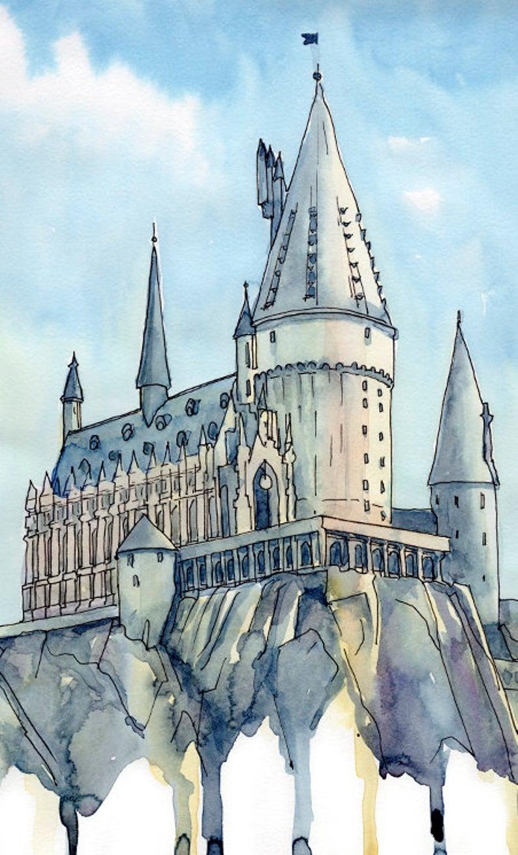 Hogwarts Castle Universal studios Art Wizarding World Poster Orlando Florida Theme Parks Watercolor Painting Print