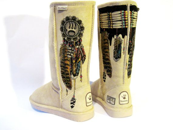 Boots Hand Painted BEARPAW size 7 Indian by TheWoodsSecretGarden, $498.00