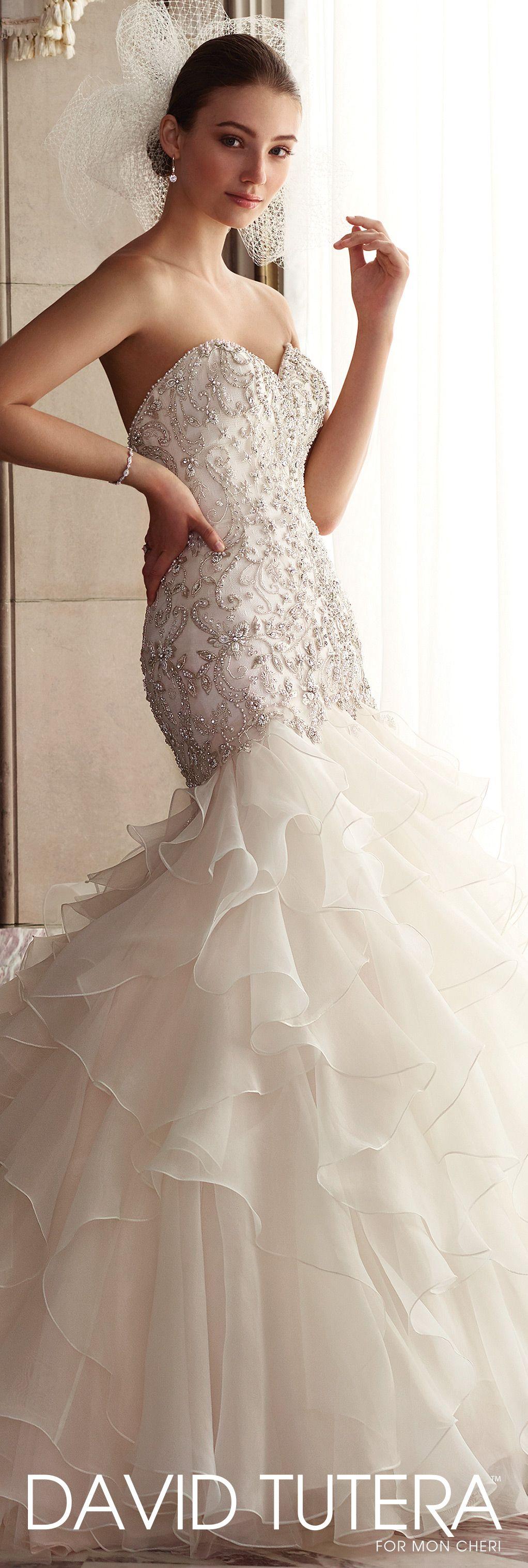 Awesome Dramatic Strapless Ruffled u Tiered Trumpet Wedding Dress Dior