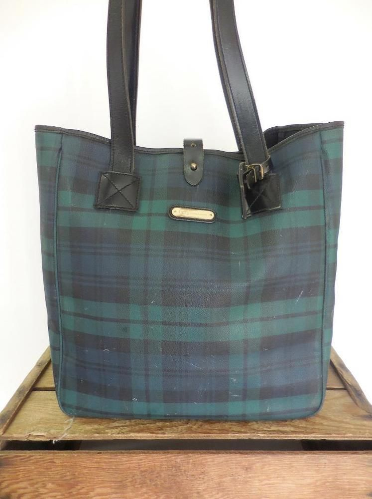 46ad35b1d54c POLO RALPH LAUREN Vintage Large Plaid Tartan Print Leather Bucket Purse  Tote Bag  RalphLauren  TotesShoppers