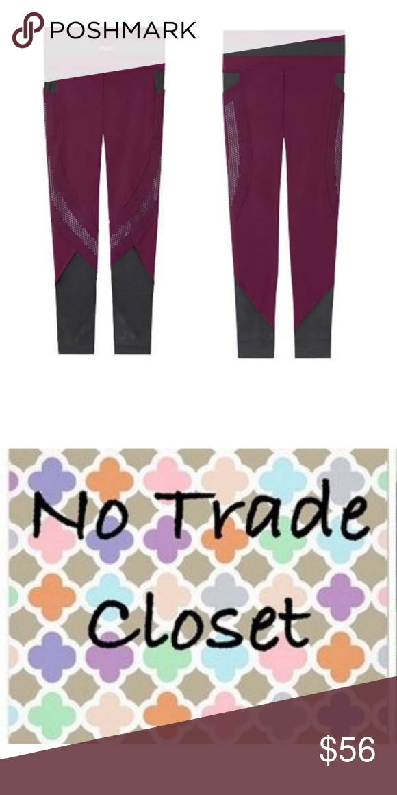 756efe63e6e007 VS Pink Ultimate Legging New Release Size L, Ultimate Mesh Pocket Legging.  NWT. High Waisted. Burgundy with Black Mesh. PINK Victoria's Secret Pants  ...