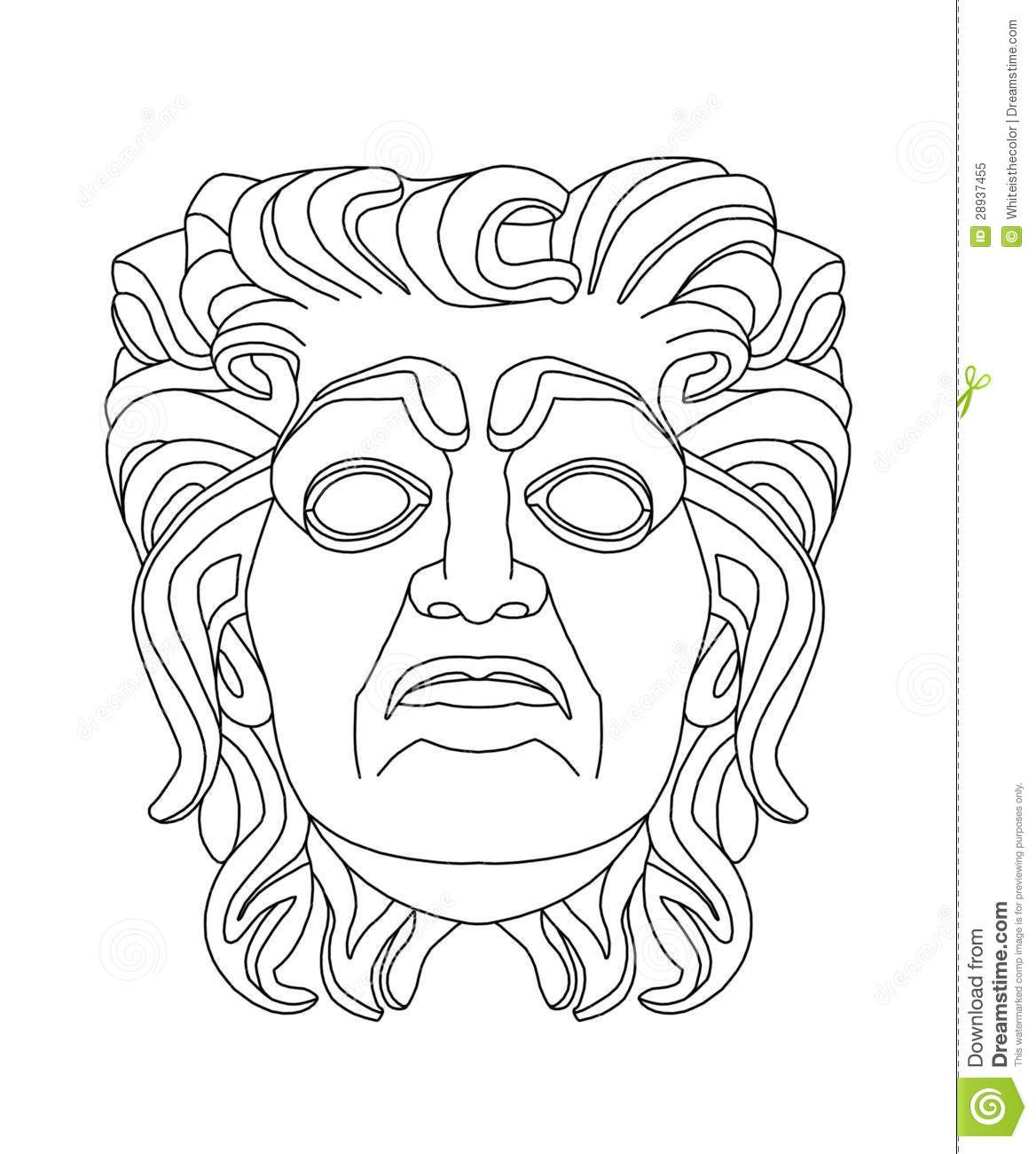 Greek Theatrical Mask Of An Old Man Stock Illustration