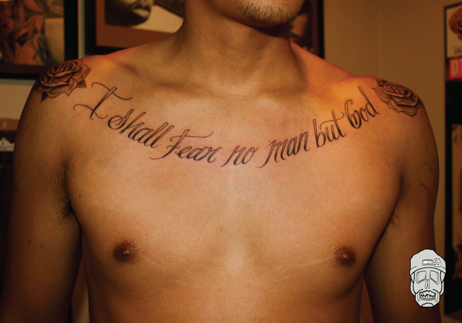 I shall fear no man but god chest tattoo tattoos and for Tattoo quotes about god