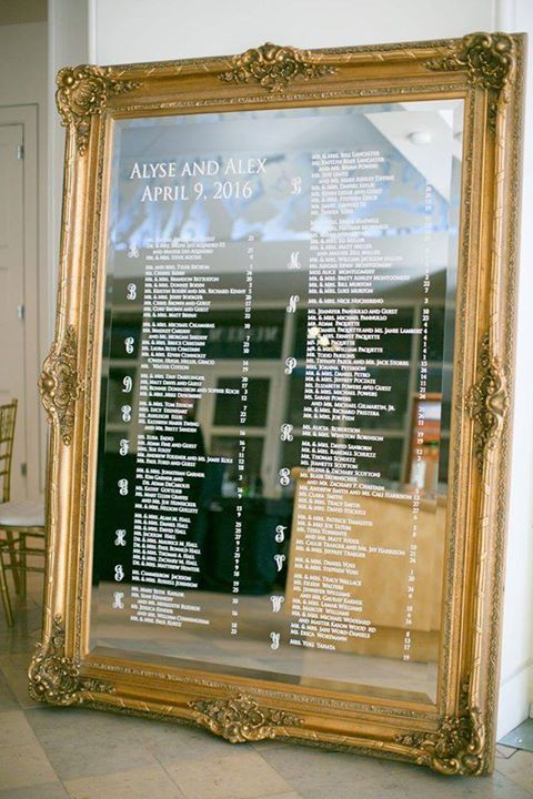 What Do You Think Of This Big Mirror As Sean O Keefe Events Alphabetical Seating Chart Wedding Mirror Seating Chart Seating Chart Wedding