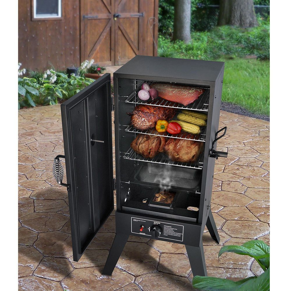 Gas smoker grill vertical bbq wood chips burner barbecue