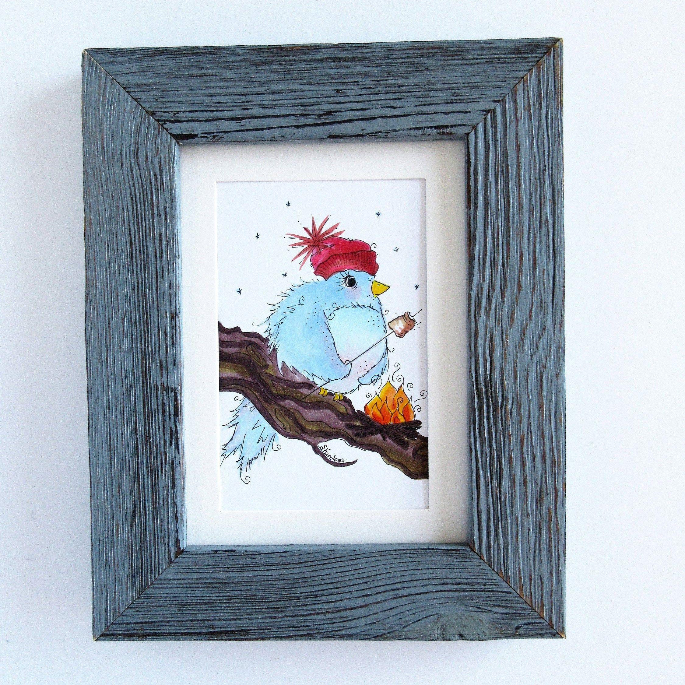 Photo of Arte de pájaro de invierno, pájaro de hoguera, ilustración de pájaro caprichoso, arte de invierno, arte de navidad, regalos de inauguración de la casa, regalo de navidad, decoración de pared única