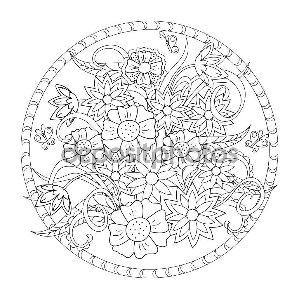 Las flores y mariposa en el círculo — Ilustración de stock ...