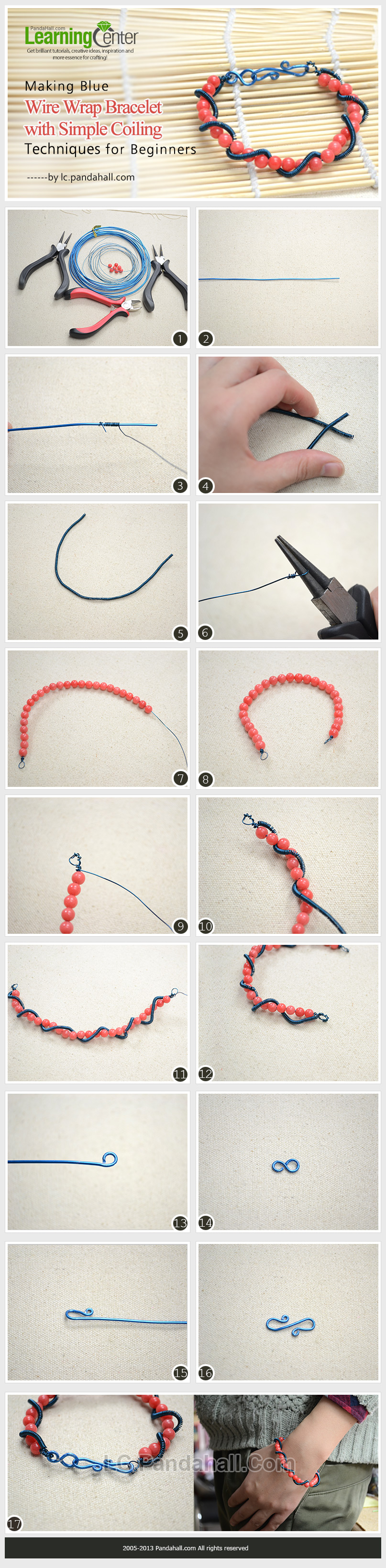 Making Blue Wire Wrap Bracelet with Simple Coiling Techniques for ...