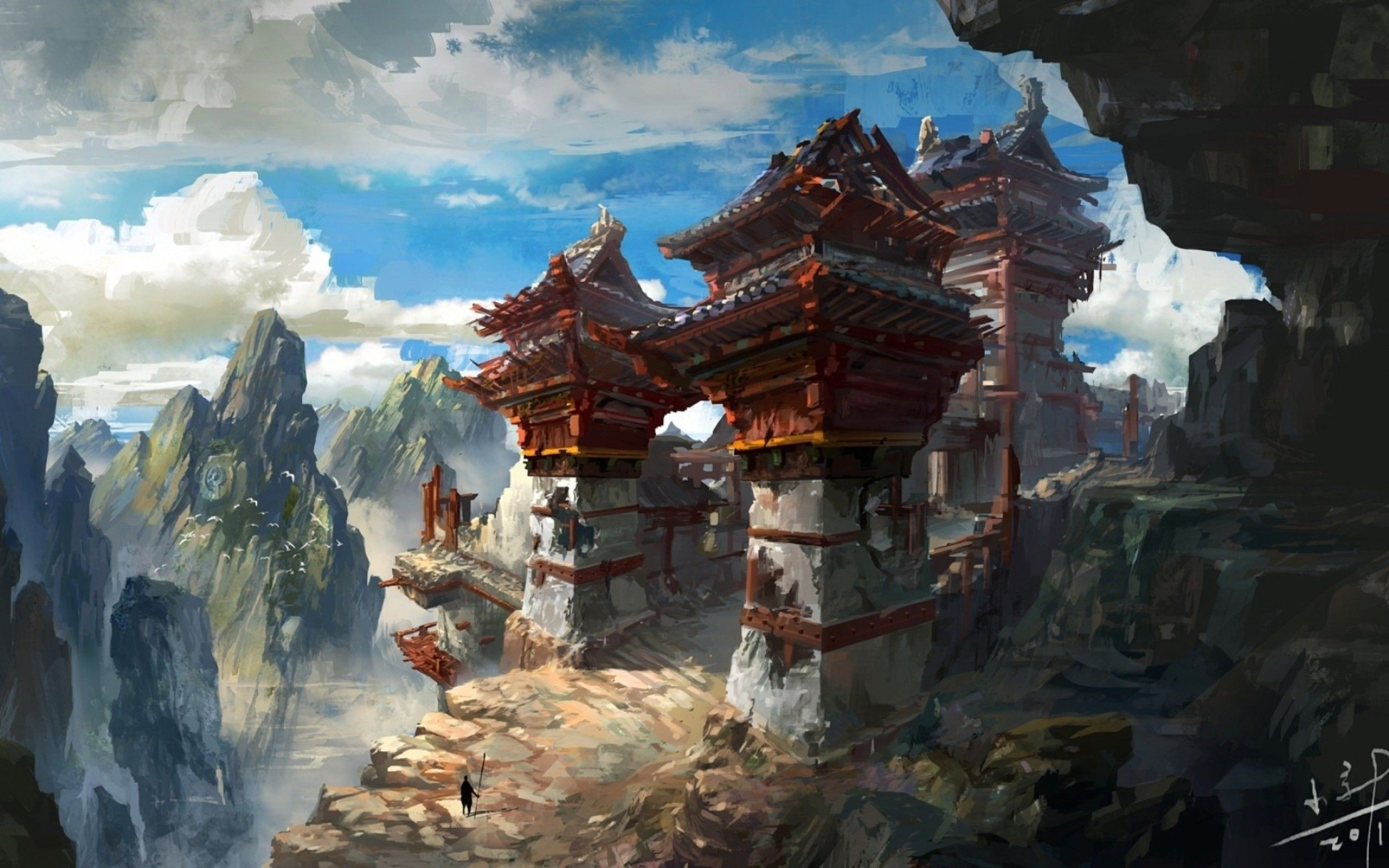 Ruined Asian mountain outpost, Illustration | Fantasy art landscapes,  Fantasy landscape, Environment concept art