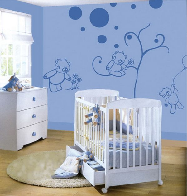 drawing on wall for baby boys room | baby wall art decoration