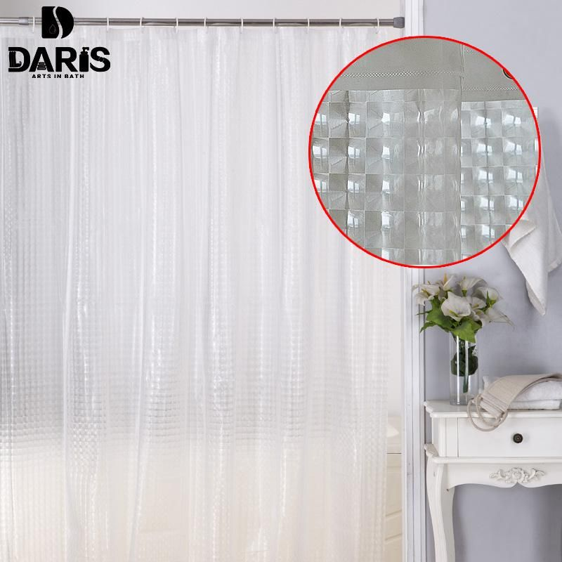 3D Bath Shower Curtain Clear Cubes Water Transparent Plastic EVA Thicker 180*200