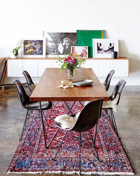 Modern Bohemian Dining Room // Trend Alert: Polished Concrete Floors Via