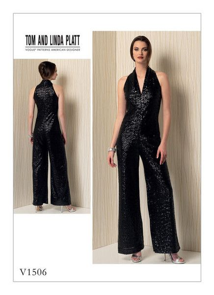 Vogue Pattern V1506 Misses\' Sleeveless Wide-Leg Jumpsuit   Pinterest