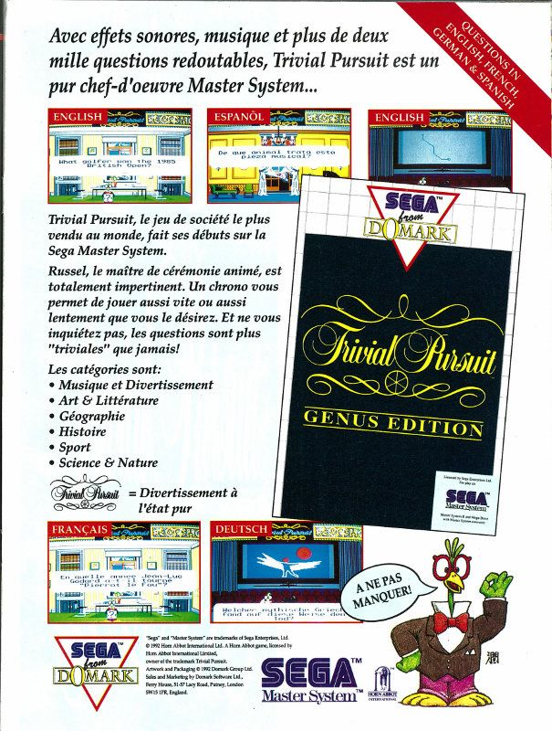 Trivial Pursuit: Genus Edition for Master System (France, Domark / Horn Abbot International, November 1992)