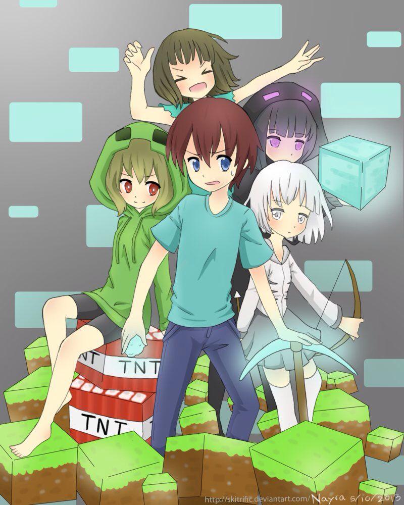 Minecraft anime versions of steve creeper skeleton - Minecraft creeper and steve ...