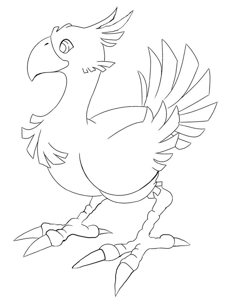 Chocobo From Final Fantasy Line Art For Coloring Fantasy Drawings Final Fantasy Art Final Fantasy Characters