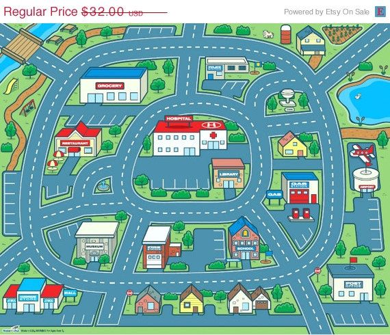 ON SALE Driving Around Town Car Play Mat For Kids