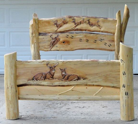 Hand carved log bed buck doe scene available in Log cabin furniture
