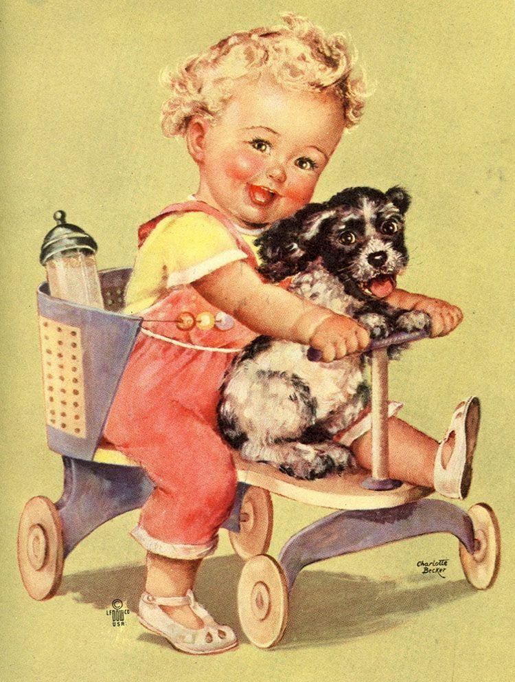 Старинные открытки дети и животные