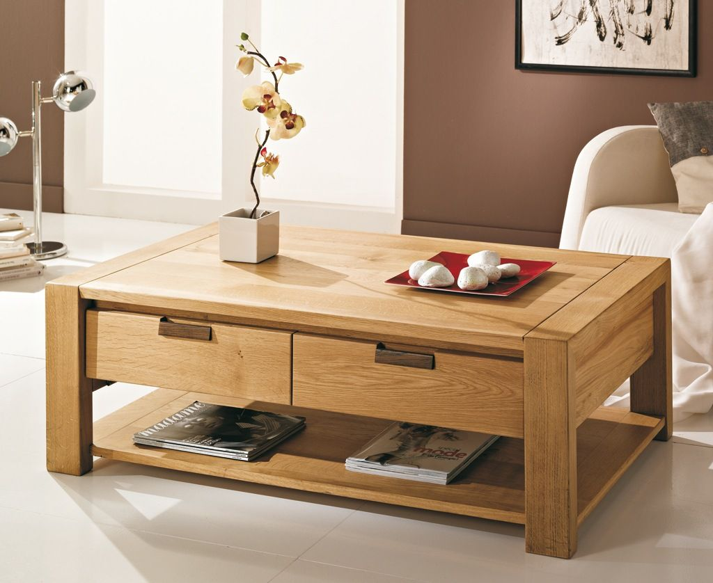 table basse en bois massif 2 tiroirs sonia meuble. Black Bedroom Furniture Sets. Home Design Ideas