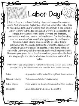 Labor Day Social Studies Holiday America USA union | Labor Day