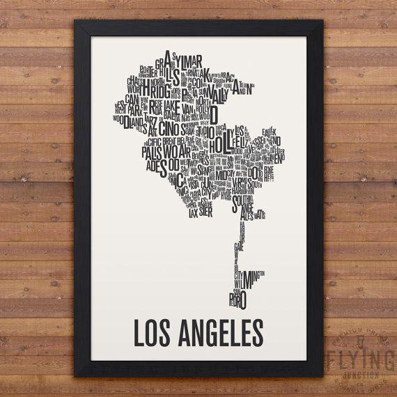 LOS ANGELES Neighborhood Map Print | For Suzy | Pinterest | Los ...