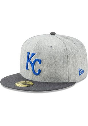 pretty nice df8c8 650d4 KC Royals New Era Mens Grey Heather Action Fitted 59FIFTY Fitted Hat