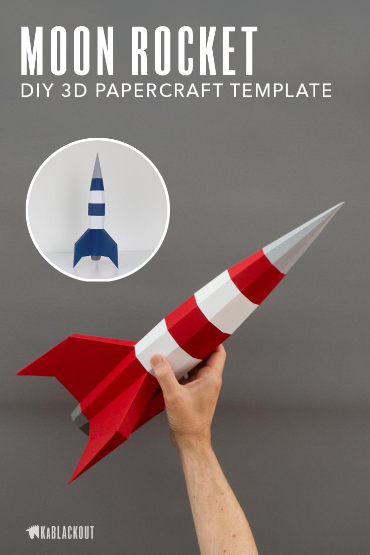 Papercraft Rocket Template Diy Rocket Low Poly Rocket 3d Etsy Diy Rocket Rocket Template Paper Crafts