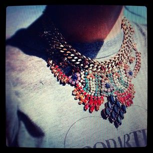 Love this dannijo statement necklace paired with the tee