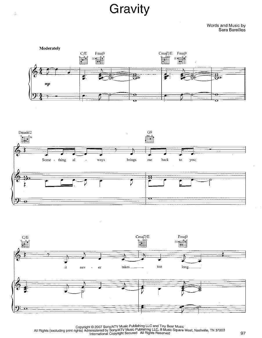 Sara Bareilles Gravity Sheet Music Piano Scribd My Fav Song