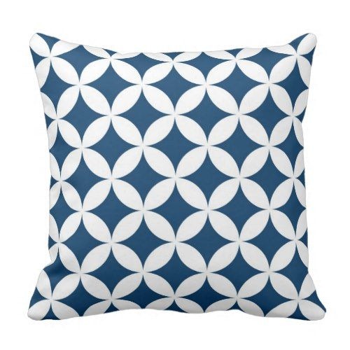 Classic Geometric Circles In Navy Blue And White Throw Pillow