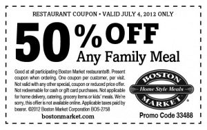 graphic relating to Boston Market Printable Coupons referred to as Boston Industry Printable Coupon ~ 50% off loved ones dinner upon 7/4