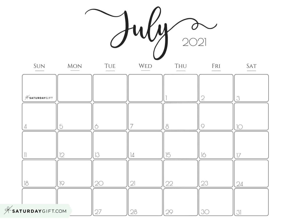 Blank Calendar 2021 July Elegant 2021 Calendar by SaturdayGift   Pretty Printable Monthly