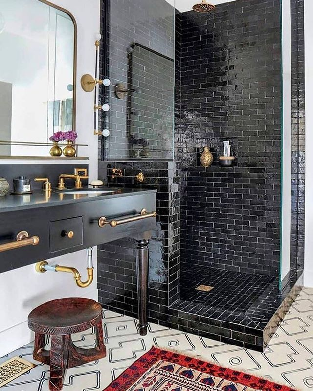 Bathroom Goals Black Tile Shower And Vanity With Gold Fixtures