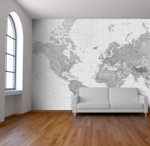 Perfect feature wall for the study!! World map..love