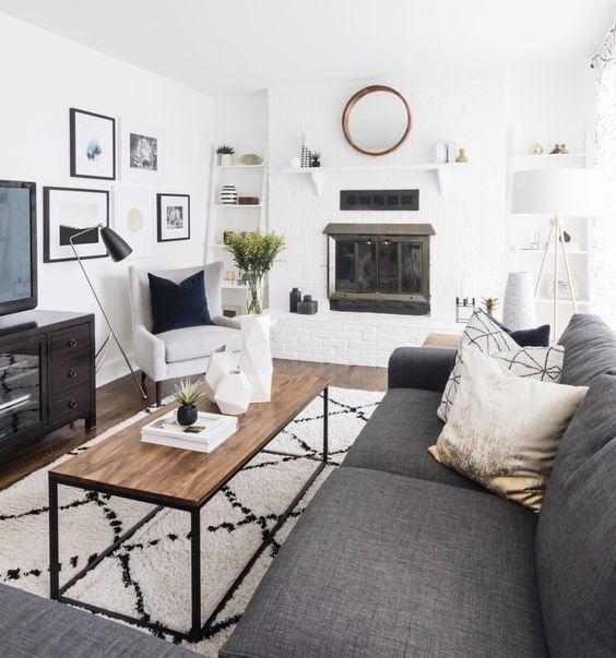 salon scandinave industriel gris blanc beige bois m tal. Black Bedroom Furniture Sets. Home Design Ideas