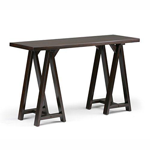 Simpli Home Sawhorse Solid Wood 50 Inch Wide Modern Industrial Console Sofa Table In Dark Chestnut Brown