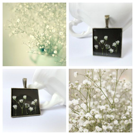 Meadow  Baby breath flowers resin necklace real by GBILOBA on Etsy, €29.50