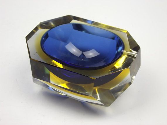 Murano sommerso cobalt blue & yellow faceted glass bowl/ashtray
