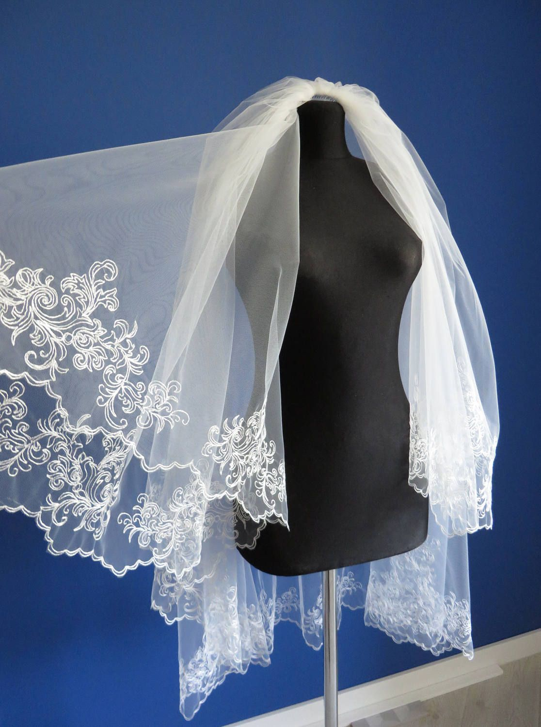 Two layer embroidered wedding veil, Two tier bridal veil