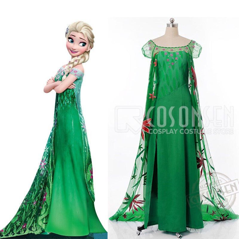 f7bc183503238 Details about Frozen Fever Costume Anna Cosplay Dress Princess Adult ...
